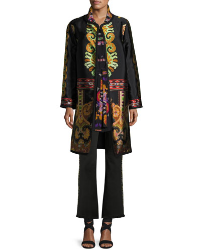 Suzani Printed Silk Faille Car Coat, Black and Matching Items
