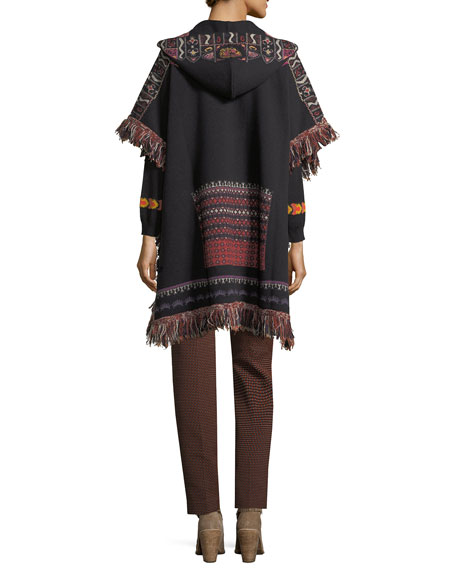 Hooded Short-Sleeve Intarsia Poncho with Fringe, Black