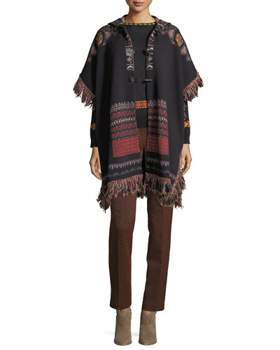Hooded Short-Sleeve Intarsia Poncho with Fringe, Black and Matching Items