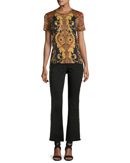 Floral-Embroidered Kick-Flare Jeans with Fringe Hem, Black