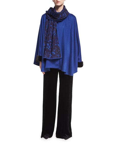 Paisley-Print Cashmere Poncho with Fur Cuffs, Blue