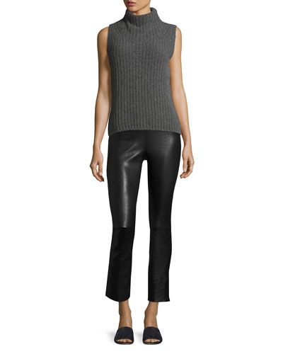 Leather Split Hem Cropped Pants and Matching Items