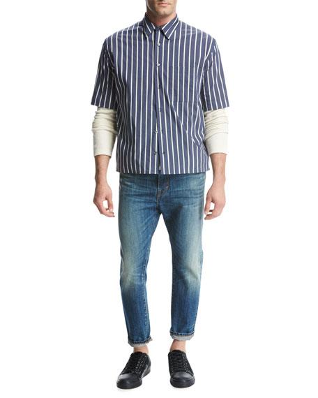 Reverse Tuck-Stitch Cotton Crewneck Sweater, Cream