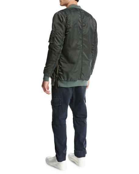 Elongated Aviator Jacket, Green/Orange