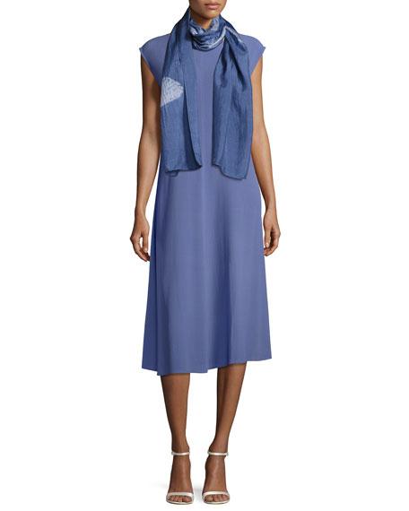Silk Georgette Crepe Calf-Length Dress