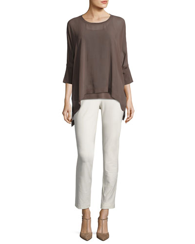 Sheer Round-Neck Silk Georgette Top and Matching Items