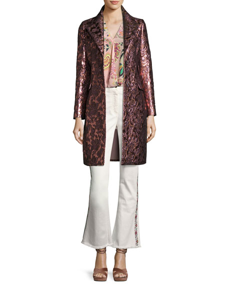 Floral Brocade Single-Breasted Coat, Pink