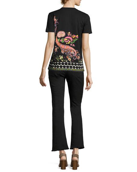 Floral-Trim Flare-Leg Jeans
