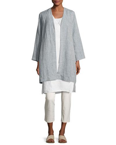 Yarn Dyed Handkerchief Linen Long Jacket, Chambray and Matching Items