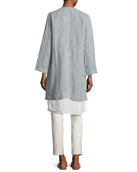 Handkerchief Linen Wrap Tunic, White, Plus Size