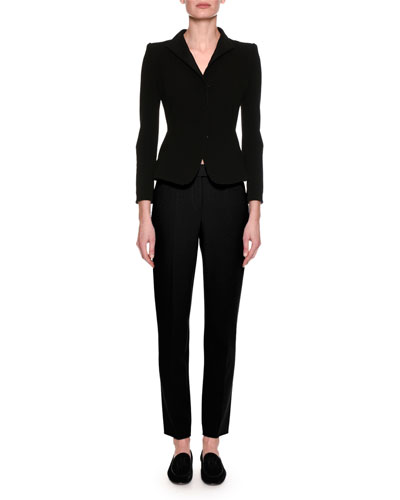 Stretch Wool Slim-Leg Pants, Black and Matching Items