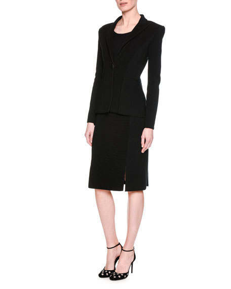 Ottoman Ribbed One-Button Jacket, Black