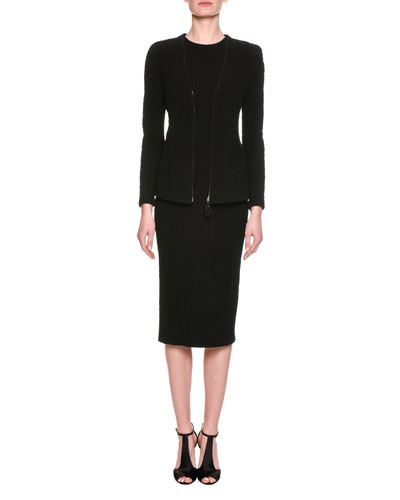 Chevron Quilted Sheath Dress, Black and Matching Items