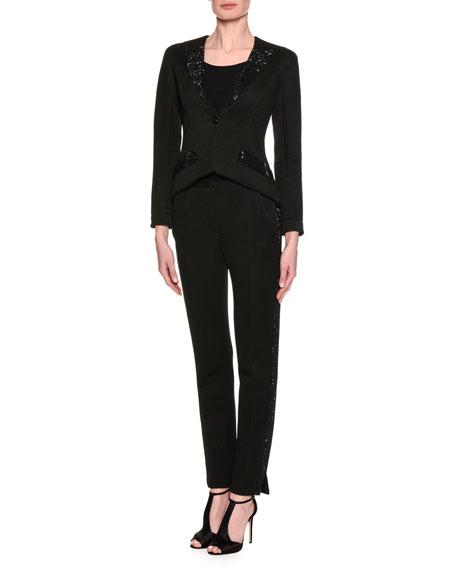 Swarovski-Embellished Jersey Jacket, Black