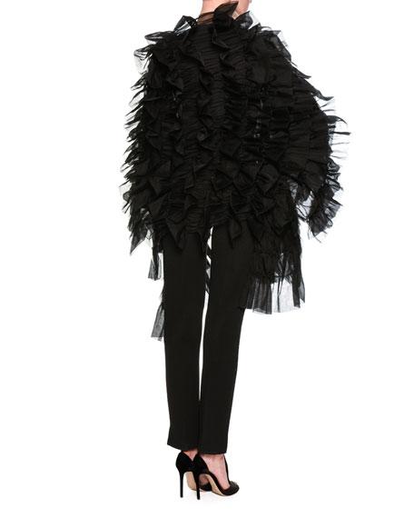 Silk Satin Blouson-Sleeve Top, Black