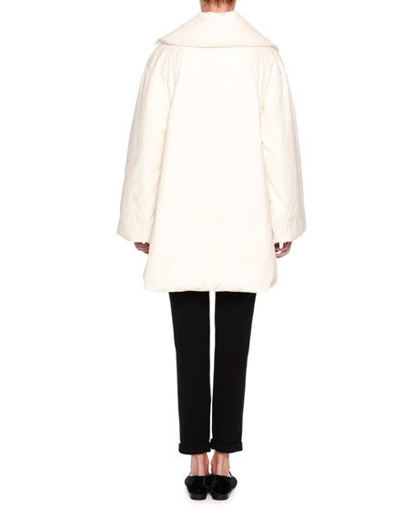 Asymmetric Zip-Front Down Coat, White