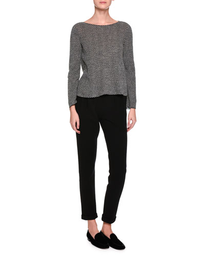 Pleated-Waist Knit Pants, Black and Matching Items