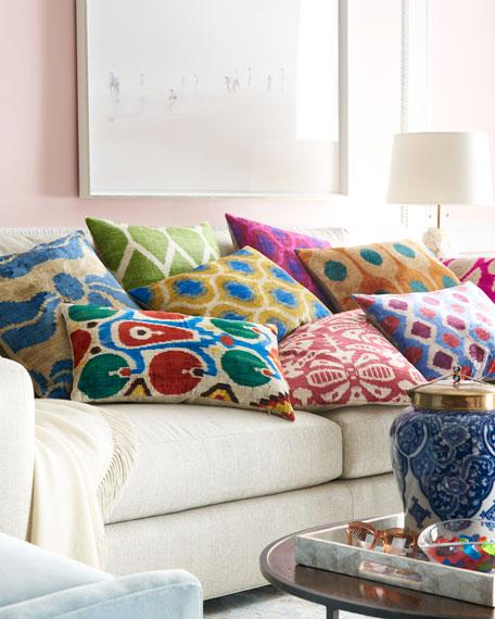 "Yellow/Blue Silk Velvet Pillow, 20""Sq."