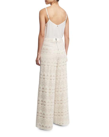 Lauren V-Neck Silk Tank, White