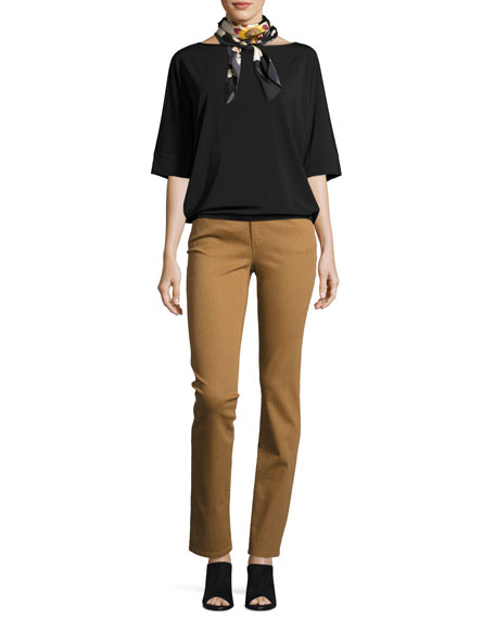 Bateau-Neck Relaxed Crepe Jersey Top, Black