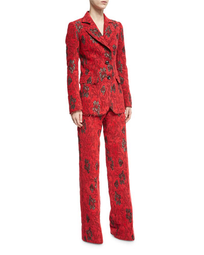 Velvet Floral Jacquard Blazer and Matching Items