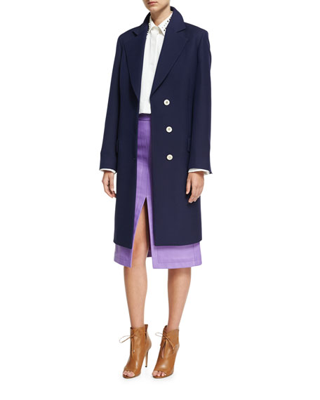 Crombie Tailored Single-Breasted Belted Coat, Navy