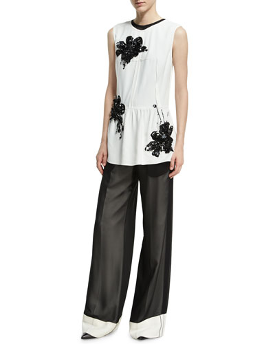 Sequined Lily Sleeveless Peplum Top, White and Matching Items