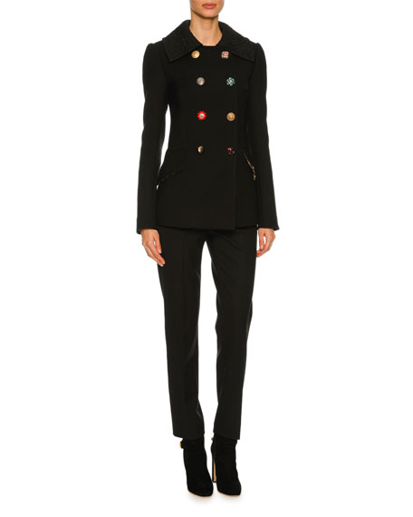 Double-Breasted Embellished-Button Peacoat, Black