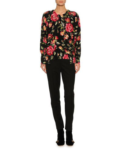 Rose-Print Cashmere Shell Top, Black and Matching Items