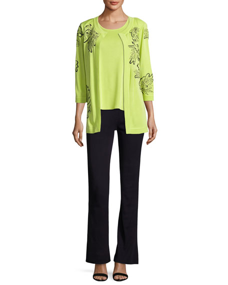 Standout Side-Slit Jacket, Chartreuse/Navy