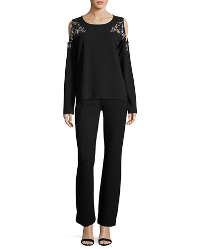 Beaded Open-Shoulder Long-Sleeve Top, Black and Matching Items, Plus Size
