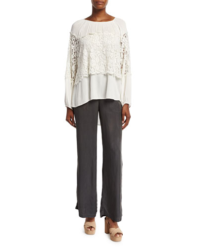 Sunneva Lace Mix Crepe Top  and Matching Items