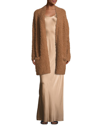 Teddy Long Open-Front Cardigan, Dark Camel and Matching Items