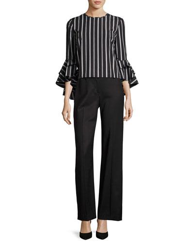 Italian Wool Gabardine Trousers, Black and Matching Items