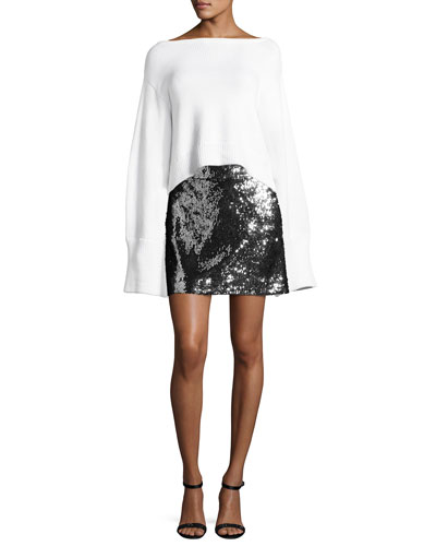 Sequined Modern Miniskirt, Silver/Black and Matching Items