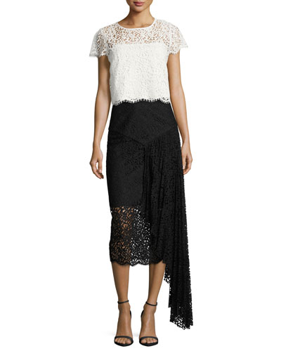 Lace Pencil Midi Skirt w/ Side Cascade, Black and Matching Items