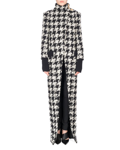 Long Oversized Houndstooth Coat, Black/White and Matching Items