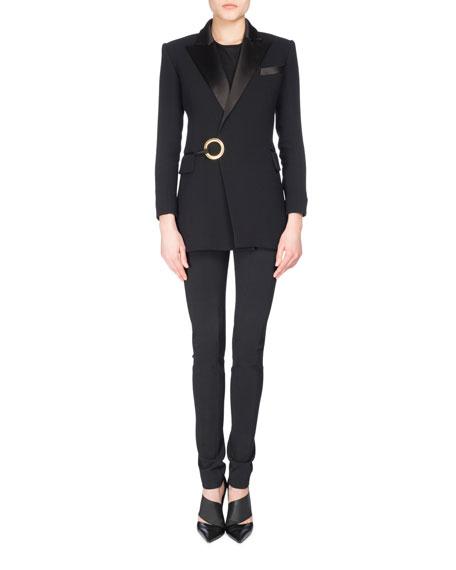 Satin-Lapel Tuxedo Jacket with Ring Detail, Black