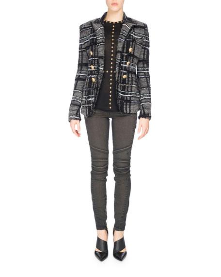 Button-Shoulder Wool Turtleneck Sweater, Black