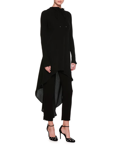 High-Low Ruched Funnel-Neck Silk Tunic, Black and Matching Items