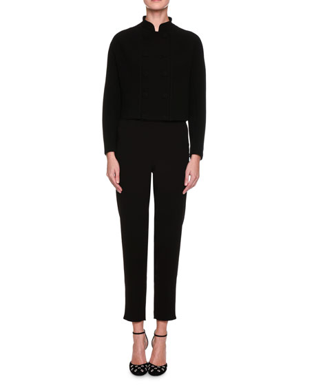 Cropped Straight-Leg Ankle-Zip Pants, Black