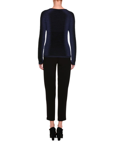 Intarsia Ribbed Sweater, Black/Blue