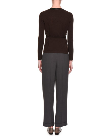 Chevron Mixed-Pleated Fashion Pants, Taupe