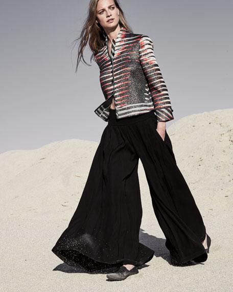 Pleated-Waist Knit Pants, Black
