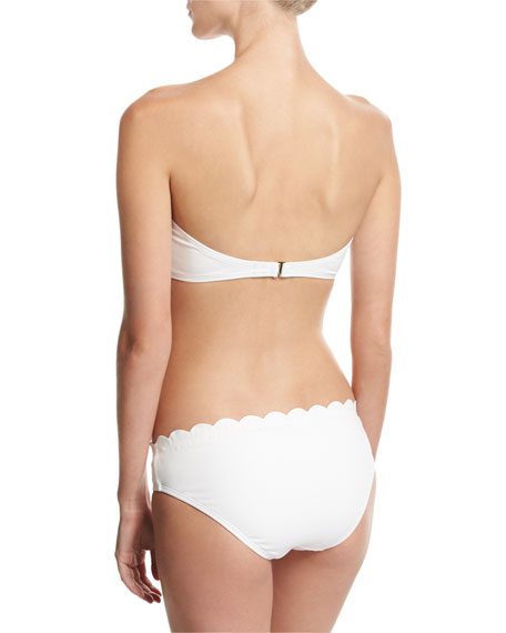 scalloped bandeau swim top