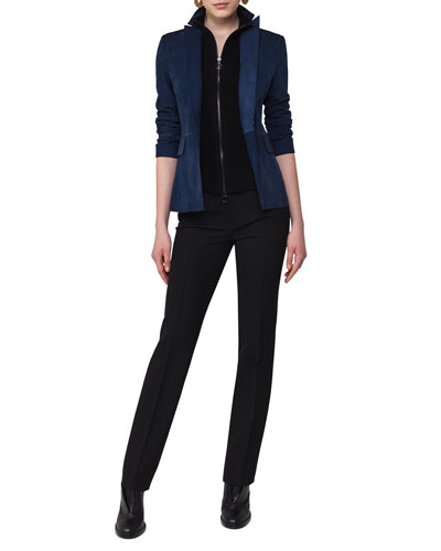Suede Blazer with Detachable Wool Vest, Navy and Matching Items