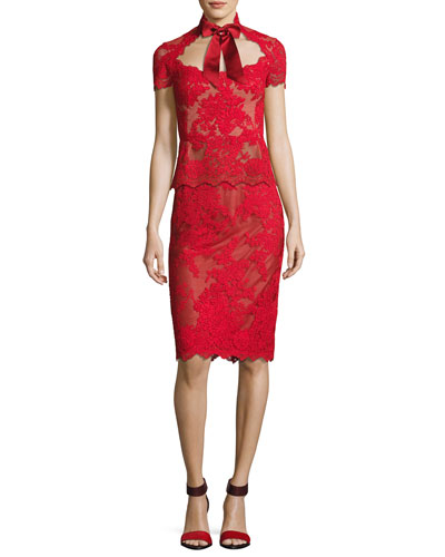 Lace Top with Satin Necktie and Matching Items
