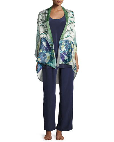 Gatsby Floral-Print Short Shawl Robe, Multi Pattern and Matching Items
