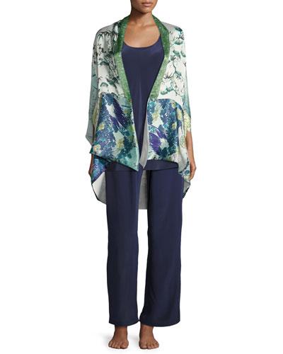 Gatsby Floral-Print Short Shawl Robe, Multi Pattern and Matching Items