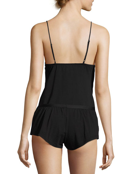Bisou Lace-Up Lounge Camisole, Black